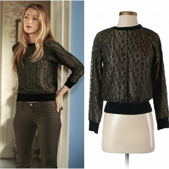 Barneys Black Lace Sweatshirt Xs Gossip Girl